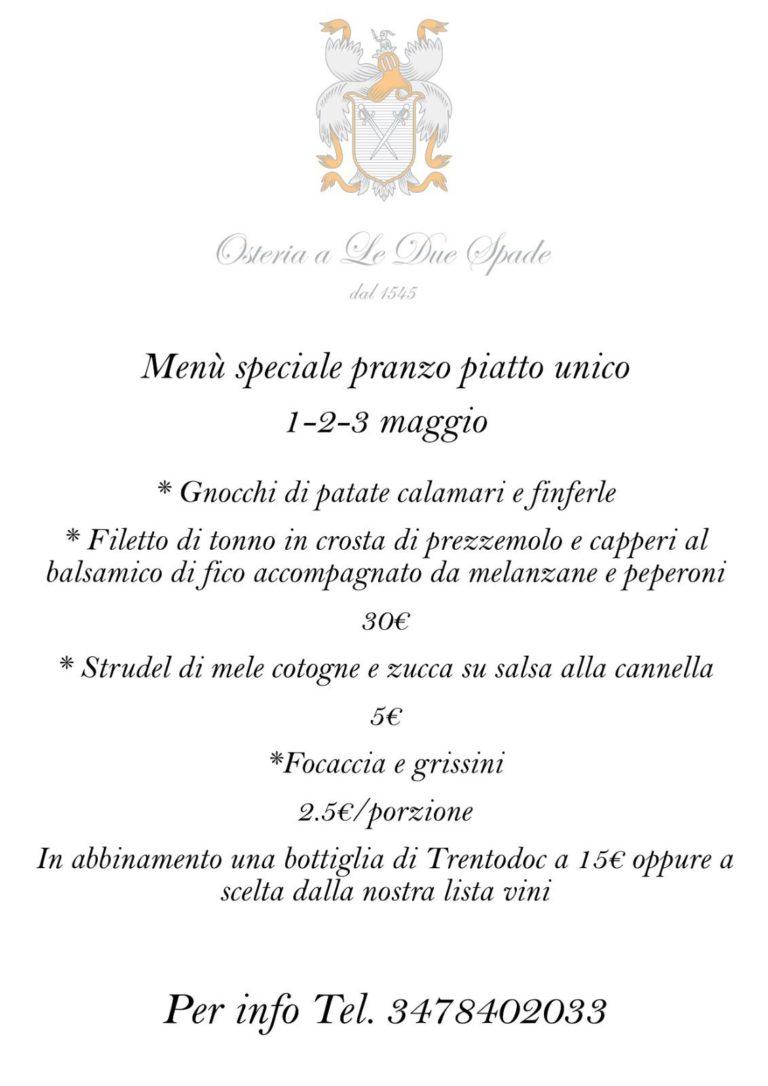 Menù d'Asporto 1-2-3 Maggio   Osteria Due Spade Trento
